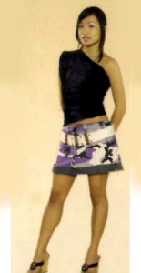 MAKEDA modeling Six-way top & mini camo skirt